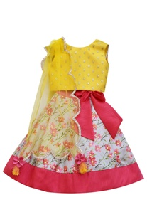 Mustard yellow sequence choli with printed lehenga and dupatta