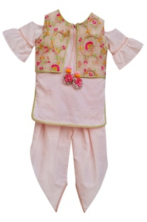 Baby pink kurti with attached jacket & churidar