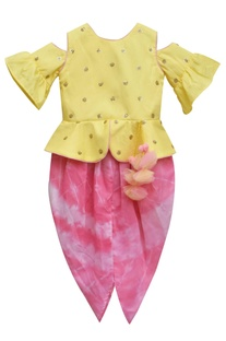 Yellow embroidered peplum choli with pink tie-dye dhoti
