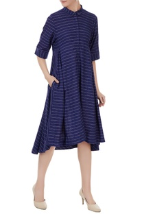 Indigo handwoven cotton stripe flared dress