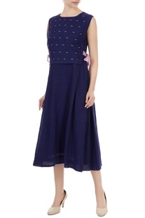 Indigo handwoven linen hand embroidered & pleated dress
