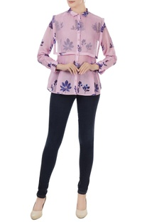 Lilac pink cotton silk leaf print shirt with organza detail