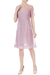 Lilac pink silk embroidered dress