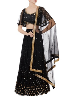 Black net sequin blouse with lehenga