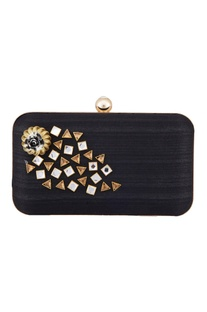 Black crystal fabric clutch