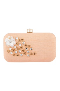 Peach crystal fabric clutch
