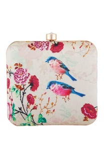 Off white fabric bird print clutch