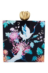 Black acrylic bird printed clutch