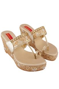 Gold moti pearl 3-inch wedge heels