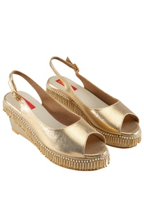 Gold peep-toe wedges with bead tassels
