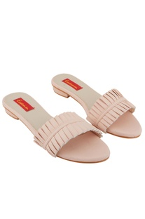 Rose pink box pleated flats