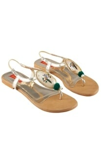 Gold & beige hand painted shell work sandals