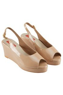 Beige 2.5-inch patent faux leather peep-toe wedges
