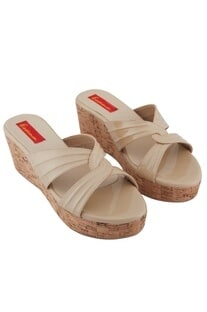 Beige c-cross strap 3-inch wedges