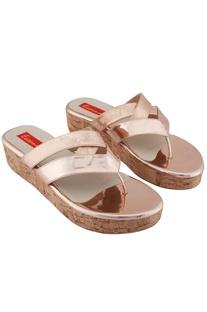 Rose gold v-cross strap sandals