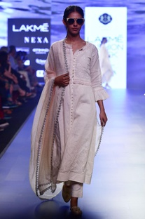 white chikankari choga jacket with scallop waistcoat & straight pants