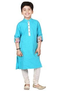 Turquoise & ivory cotton cutwork kurta set
