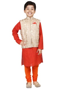 Orange & gold foil print kurta set with nehru jacket