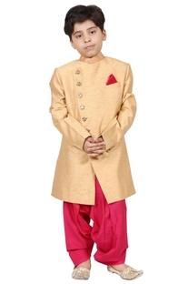 Gold & pink raw silk solid sherwani set