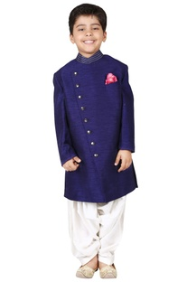 Navy blue raw silk solid sherwani set