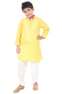 Yellow & ivory silk solid dhoti with kurta