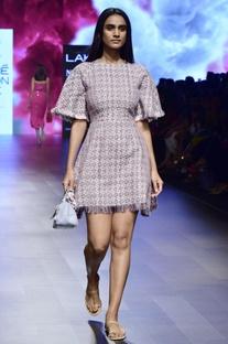 Multi-colored casement frayed dress