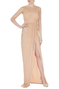 Peach hand-embroidered tulle net gown