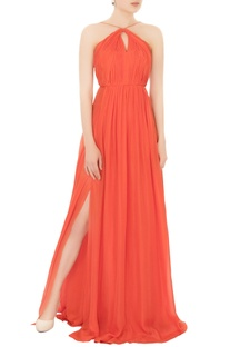 Tomato red pure chiffon gown with double slits
