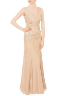Champagne beige hand-embroidered pearl & sequin gown