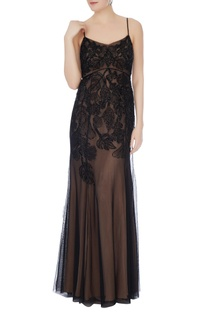 Black & beige hand-beaded gown