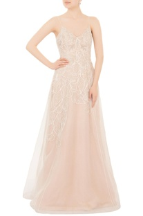 White organza hand-embroidered spaghetti strap flared gown