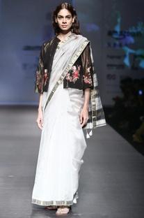 Grey mahershwari silk sari with black striped blouse with cream peticoat