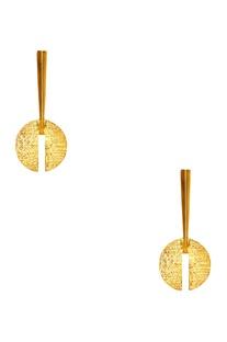 Gold plated long dangling earrings
