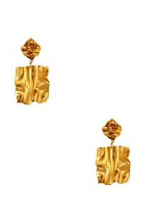 Gold plated oversized stud earrings