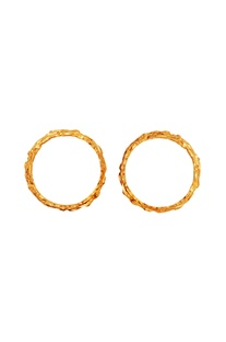 Gold brushed effect set of two bangles