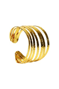 Gold-plated multiple layered cuff bangle