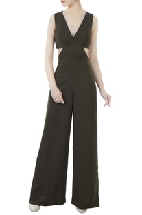 Olive green cutout jumpsuit