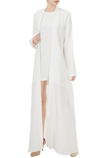 White crepe silk front open trench jacket