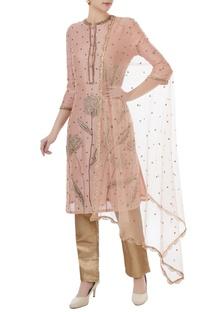 Powder pink & brown chanderi, tafetta & net hand crafted nakshi, white pearl & mirror work kurta with pants & dupatta