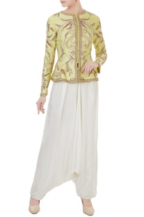 Yellow & white chanderi & crepe hand crafted nakshi, white pearl & bead work jacket with dhoti pants