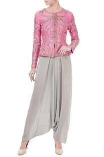 Pink & grey chanderi & crepe hand crafted nakshi, white pearl & bead work peplum jacket & dhoti pants