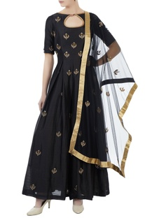 Black chanderi & net hand crafted nakshi, bead work & mirror work jumpsuit with dupatta