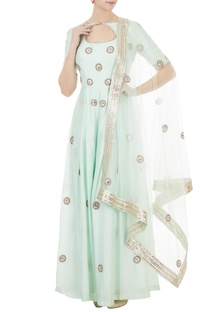 Mint green chanderi & net hand crafted nakshi & bead work jumpsuit with dupatta