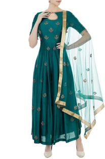 Teal blue chanderi & net hand crafted nakshi, bead work & mirror work jumpsuit with dupatta