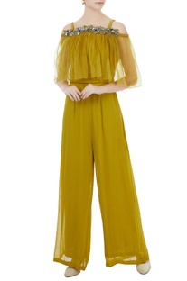 Sulphur yellow crepe, georgette & organza hand crafted colorful sequin, bead work & nakshi jumpsuit