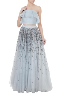Ice blue organza & net hand crafted stone bead sequin & nakshi work lehenga with blouse