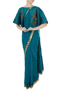 Sea blue georgette & tafetta hand crafted zardozi saree with bustier & cape