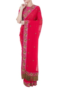 Fucshia pink & red georgette & tafetta hand crafted zardozi & bead work tassels saree with cold-shoulder blouse