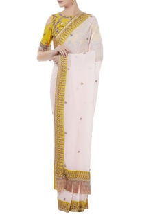 White & sulphur yellow georgette & tafetta hand crafted zardozi & bead work tassels saree with cold-shoulder blouse