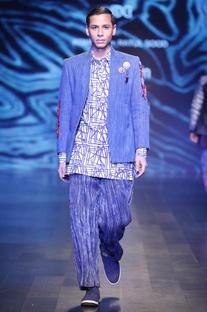 Indigo blue & cream tussar silk arashi dye trousers